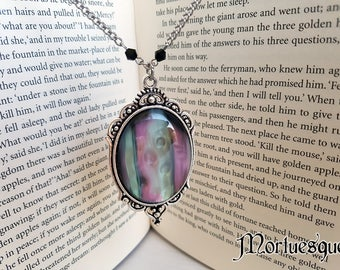 Pearlescent Purple and Green Large Gothic Pendant Necklace with Silver Chain