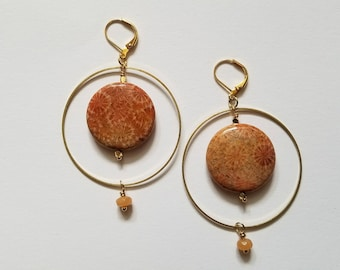 Fossilized coral and red aventurine brass hoop earrings