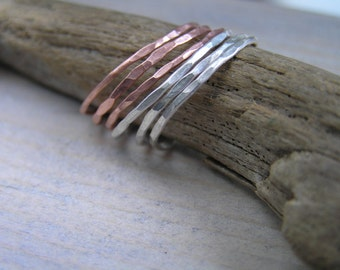 Mixed metal stacking rings. Set of 6 sterling silver and copper stacking rings. Made to order in your size.
