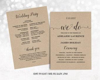 Printable Wedding Program, Wedding Program Template, Kraft Paper Program, DIY Program, INSTANT DOWNLOAD, Editable Text, We Do VW02