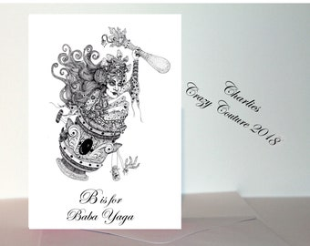 Baba Yaga witch card /Russian witch card A6 witch card/ witch birthday card /pagan cards/ wiccan cards