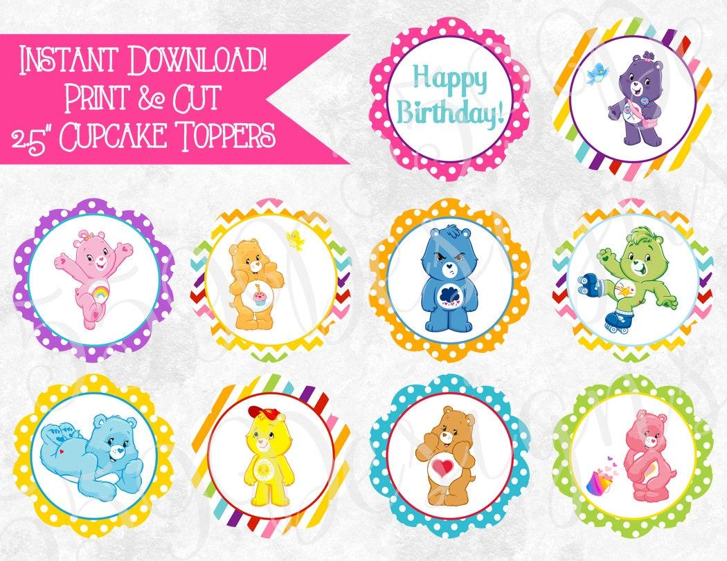 Printable Care Bear Cupcake Toppers Download Print Care Bear