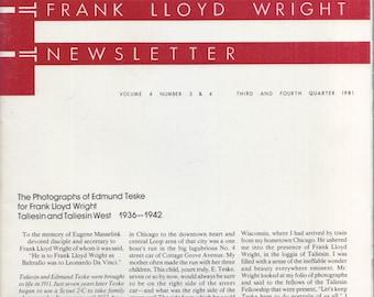 FRANK LLOYD WRIGHT Newsletter Edmund Teske photography 1936-42 Taliesin and Taliesen West  ...Newsletter, Vol. 4, #3 & 4, 1981 architecture