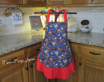 Ladies Full Apron, Rooster Apron, Woman's full Apron / Retro Style / Full Designer Kitchen Apron / Vintage Apron