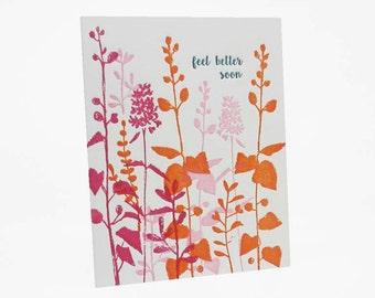"A2 Flowers ""Feel Better Soon "" letterpress card"