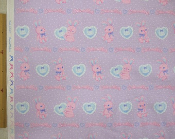 2018 Classical and Modern Japanese Fabric  / Rabbits and Hearts Oxford Lavender -  50cm x 110cm
