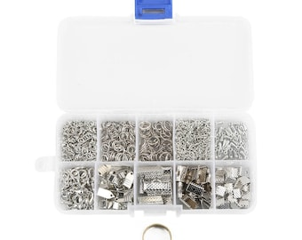 Set of Grid Box Ring Lobster Clasp Tail Chain Clip For Making Bracelet Necklace Jewelry Crimp Tool Beading Kit DIY Silver Metal Alloy Zinc