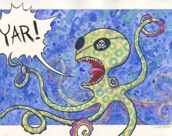 The Deadly Blue Ringed Octopus Pirate watercolor
