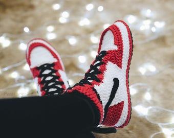 Valentinesday gift, Men's Shoes, Crochet Air Jordan 1 Retro Red Sneaker, air jordan 1 flyknit, jumpman shoes, crochet sneaker