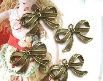 Bronze Color Big Ribbon Bow Beads Bracelet Bag Necklace Charm Pendant - 4's LAST