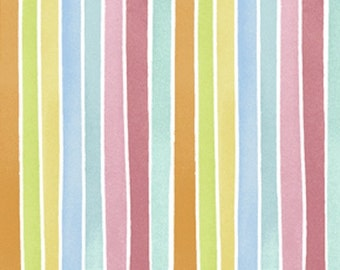 19 INCHES Free Spirit Kathy Davis - Sweet Birdie - Fruit Stripes - PWKD041 - Bluebell  - End OF BOLT