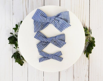 Blue and White Stripe Hand-tied Simple Fabric Bow Nylon Elastic or Alligator Clip