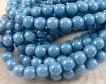 Czech Beads, 6mm Round Blue Beads, 6mm Druk Beads - Denim Blue Beads (D6/N-040) - Qty 25