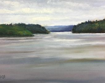 Original Pastel Painting, Quabbin Calm Blue, Meg Bandarra, 6x8