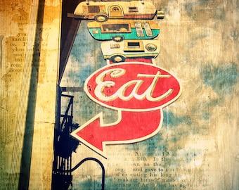 Vintage Sign Photo Eat Foodcarts--Fine Art Kitchen Lomography 8x10