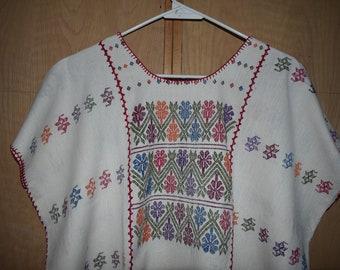 Mexican dress, huipil bordado, Oaxaca dress, hippie dress, boho long dress, long dress , folk long dress, white huipil, extra large huipil