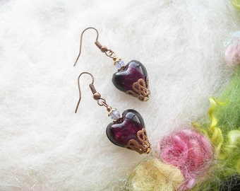 Heart Earrings Purple Lamp Work Beads Victorian Style Copper Filigree Austrian Crystal Beads Romantic Valentine Sweetheart Jewelry