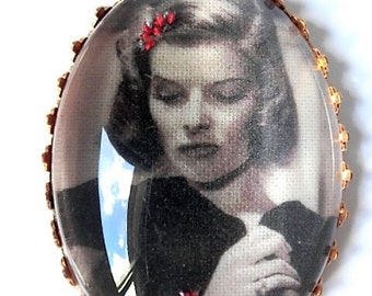 Katharine Hepburn hand embroidered brooch