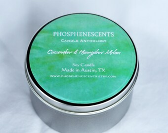 Cucumber Honeydew Melon Scented 6.5 oz. Soy Wax Wood Wick Candle Tin Pale Green