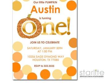 Pumpkin 1st Birthday Invitation, Pumpkin First Birthday Invitation, Boy or Girl, Orange and Gold Dots Pumpkin 1st Birthday Invite Printable