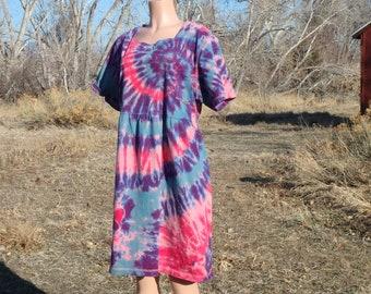 Tie Dye Mandala Spiral Pastel Cotton Dress with Pockets 2XL
