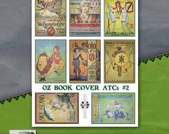 Oz Book Cover ATC Sheet #2, Vintage Printable, Instant Download, Childrens Book Illustration, Storytime, Wizard of Oz, Fairy Tales