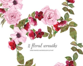 FLASH SALE Pink & Red Floral Watercolor Wreath Clipart Hand Painted Wreath Clip Art Commercial Use | W6