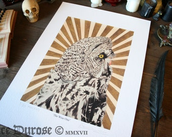 Great Grey Owl 'The Wine One' A3 Fine Art Print. Occult, witch, bird art. Surreal, Magic, Illustration. The Unholy Trinity. Giclee.