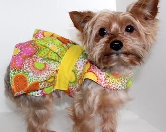 Fun Dog Dress, XS and S, Spring or Summer dress for dogs, floral design, lightweight cotton dog dress, fashion dog clothes