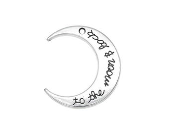 To The Moon and Back Charm, Silver Crescent Moon Pendant,  29x25mm - 5ct - #705