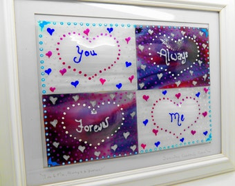 NOW REDUCED Fused glass wall art panel. Hearts display. Home decor handmade. Birthday, housewarming, wedding anniversary, engagement gifts
