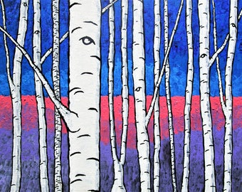 """The Birch Forest (ORIGINAL ACRYLIC PAINTING) 8"""" x 10"""" by Mike Kraus - trees forest woods nature aspen purple pink blue white black beautiful"""