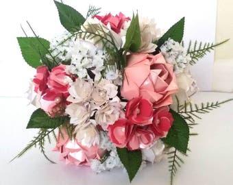 Paper Origami Flowers Wedding Anniversary Bouquet Roses Peonies Gypsophilia