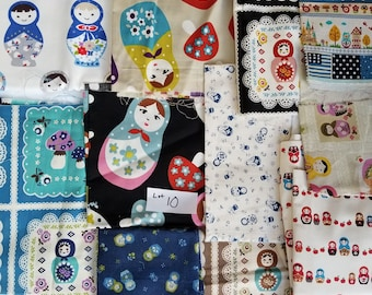 Girls Japanese Kawaii Fabric DESTASH LOT 10 Kids Quilting Cotton and Linen Scraps Fat Quarters and Larger Russian Dolls Rare, HTF Matroyshka