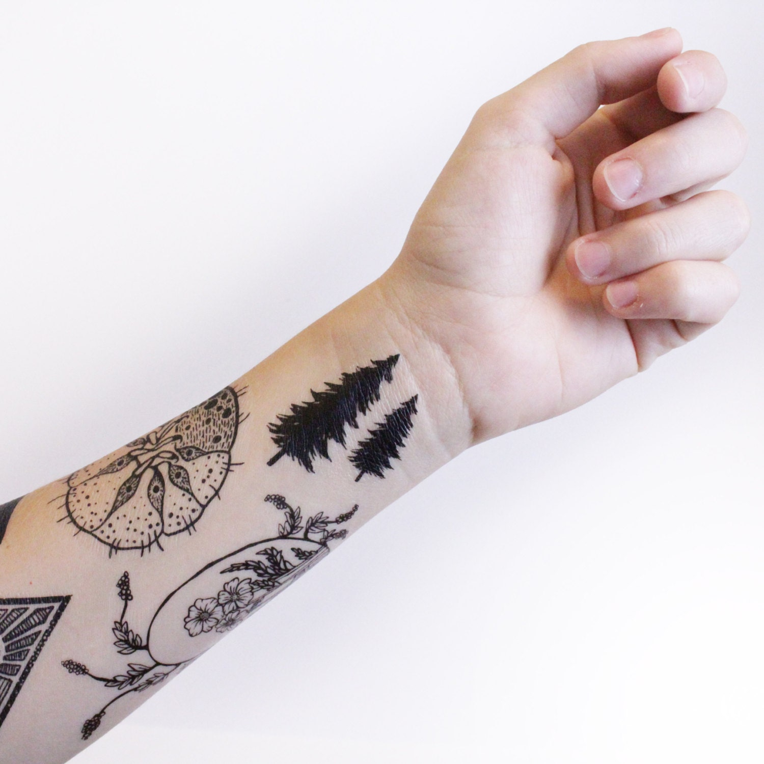 Tiny Pine Tree Temporary Tattoo Collection of 5 Black Forest