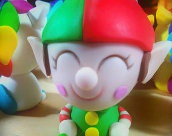 Christmas elf, folletto di babbo natale, duende navideño Fimo polymer clay handmade glow un the dark