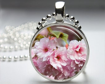 Pink Flowers Nature Round Pendant Necklace with Silver Ball or Snake Chain Necklace or Key Ring