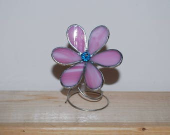 Standing Stained Glass Pink Flower, Suncatcher, Stained glass Sunflower, Pink Glass flower Wire stand