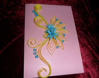 card quilling yellow and blue flower in any occasion
