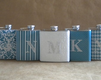 Bridesmaids Gift Flasks ANY 5 Print Design 6 ounce Flasks All with Rhinestone Initials KR2D 5350