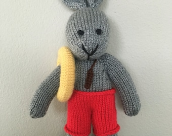 Stuffed Animal - Knitted Bunny - Lifeguard - Handmade Toy - Stuffed Bunny - Soft Toy