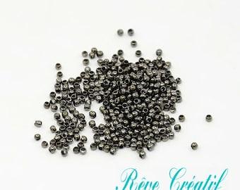 200pcs Brass Crimp Beads, Barrel, Gunmetal, about 2mm in diameter, 1.2mm long, hole: 1.2mm