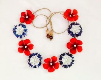 Patriotic silk flower headband