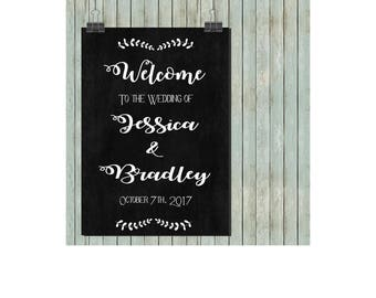 Wedding sign printable chalkboard customized wedding poster, wedding decoration