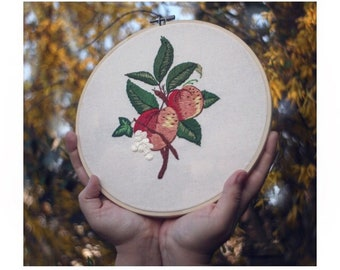 Hand embroidered peach hoop