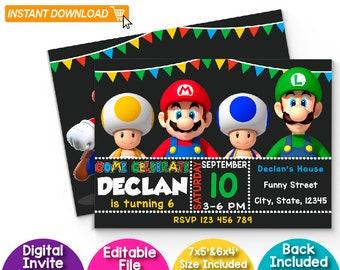 Mario Bros Editable Invitation, Mario Bros Invitation Instant Download, Mario Bros Invitation, Mario Bros Birthday Invitation, Editable