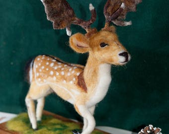 Stag, Sculpture, Model - Needle Felted, One of A Kind Fallow Deer Stag