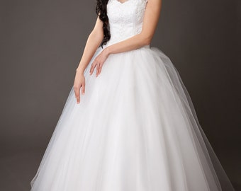 Vintage Inspired A-Line Wedding Dress with Tulle Skirt, Illusion Neckline, Lace Corset Embroidered with Swarovski Crystals and Pearls