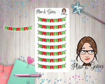 Christmas Weekend Banner Planner Stickers, Red Green Weekend Banner, Erin Condren, Bullet Journal, Happy Planner, FUN-162
