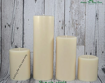All Natural Vegan 4.25 Inch Soy Pillar Candle, Scented or Unscented. Medium Pillar